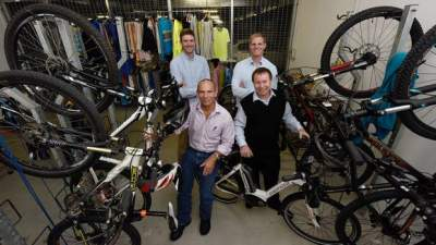 Bike commuters at Trustpower, Richard McKey, Nelson Walker, Craig Schubauer and Steve Hutchinson, welcomed the council's decision to speed up its investment cycling. Photo: George Novak