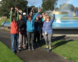 Tom with the Nordic Walking Group in Memorial Park, Tauranga.
