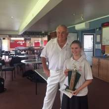 President-of-Awara-Bowling-Club-Garry-with-the-winner-of-Girls-Singles-Georgia.